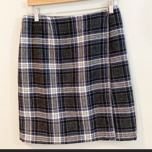 Wool blend blue black plaid skirt